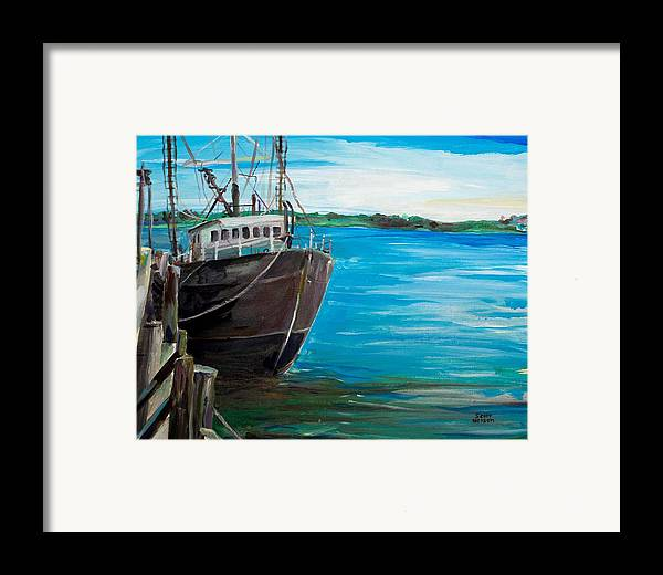 Fishing Boat Framed Print featuring the painting Portland Harbor - Home Again by Scott Nelson