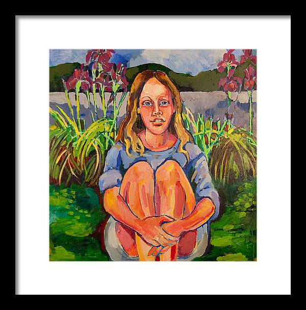 Portrait In Landscape Framed Print featuring the painting Portrait Of A Young Girl by Doris Lane Grey