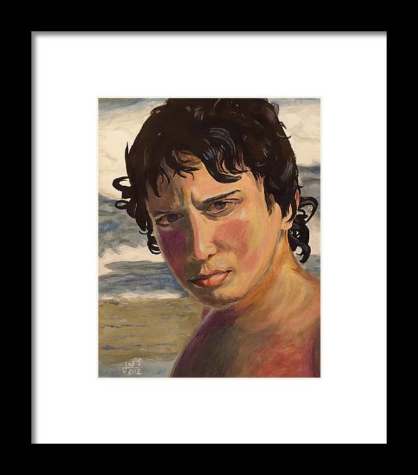 Portrait Framed Print featuring the painting Portrait Of Jodediah Holems by Jeff Chase