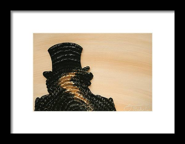Beige Framed Print featuring the painting Portrait Variation In Beige - Stu With Hat by Antonio Wehrli