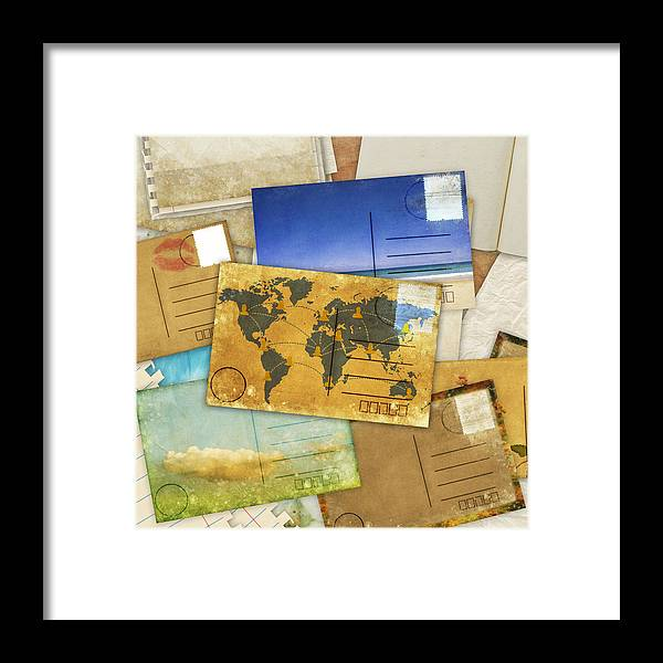 Abstract Framed Print featuring the photograph Postcard And Old Papers by Setsiri Silapasuwanchai