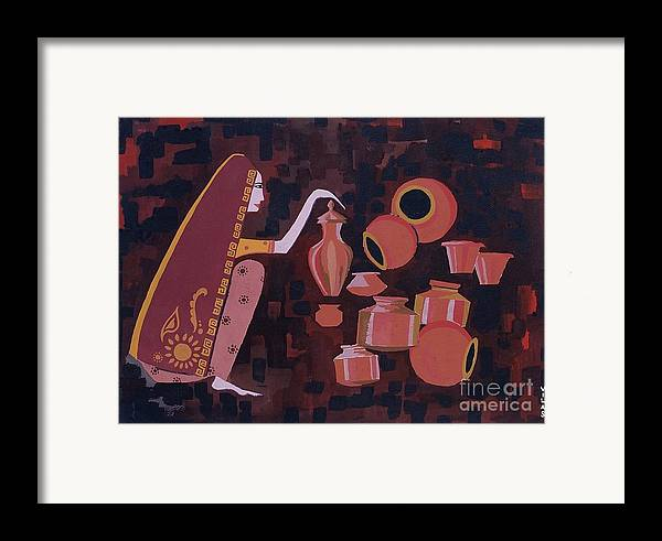 Potter Woman Pots Creations Shapes Brown Earthen Design Forms Framed Print featuring the painting Potter by Vilas Malankar