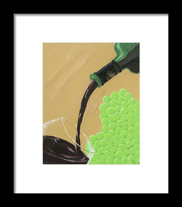 Grapes Framed Print featuring the painting Pour A Glass by Starla Rodriguez