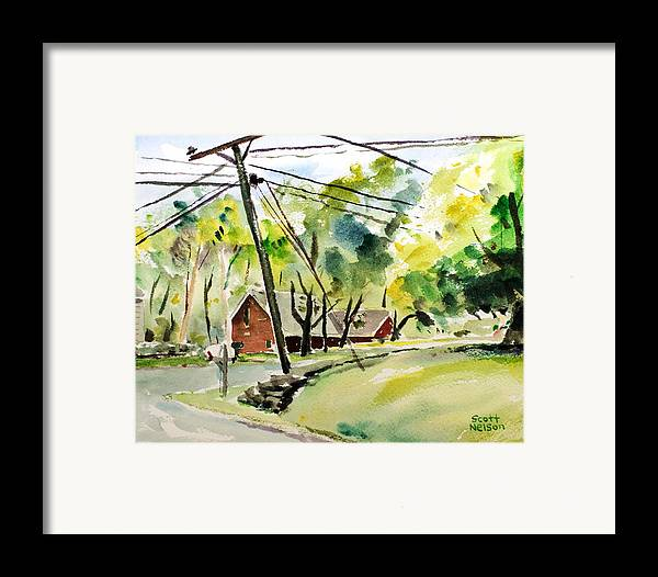 Powerlines Framed Print featuring the painting Power Pole by Scott Nelson