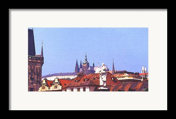 Steve Huang Framed Print featuring the digital art Prague Castle by Steve Huang