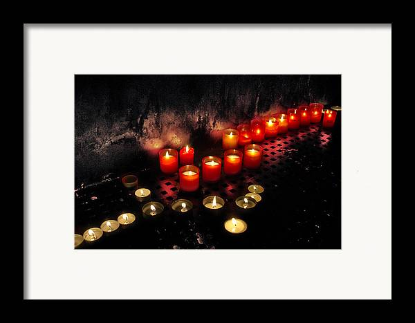 Antique Framed Print featuring the photograph Prague Church Candles by Stelios Kleanthous