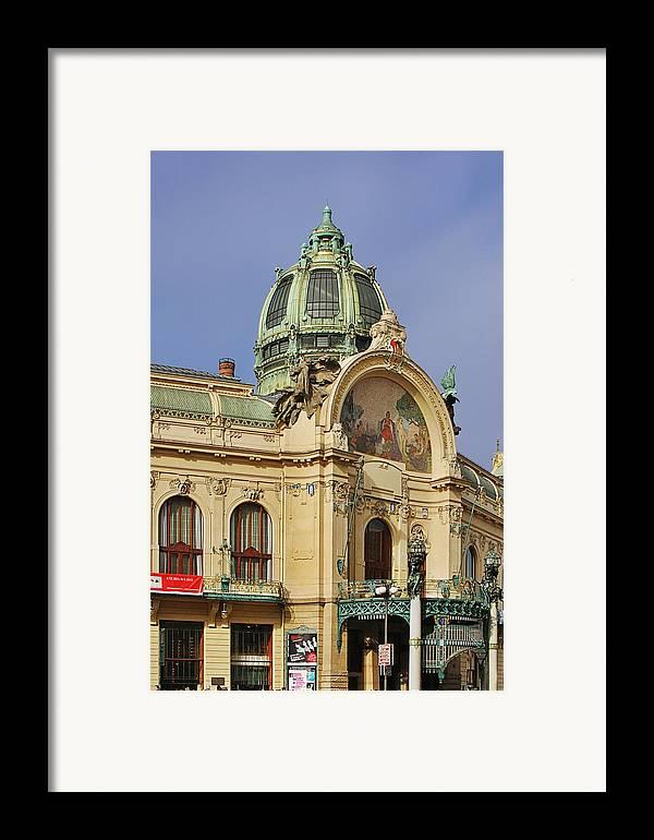Obecni Dum Framed Print featuring the photograph Prague Obecni Dum - Municipal House by Christine Till