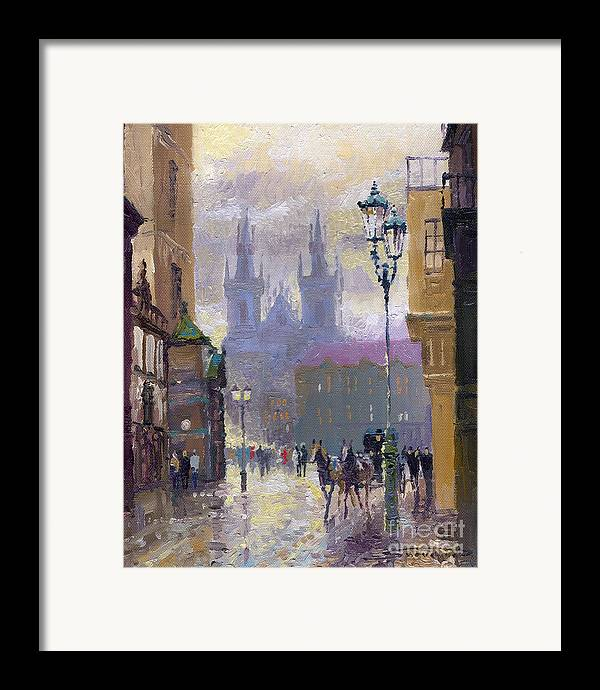 Oil On Canvas Framed Print featuring the painting Prague Old Town Square by Yuriy Shevchuk