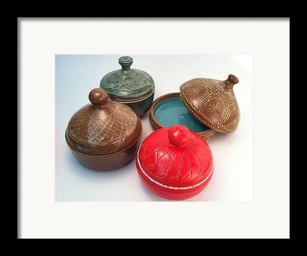 Art Framed Print featuring the ceramic art Prayer Pots by Carolyn Coffey Wallace