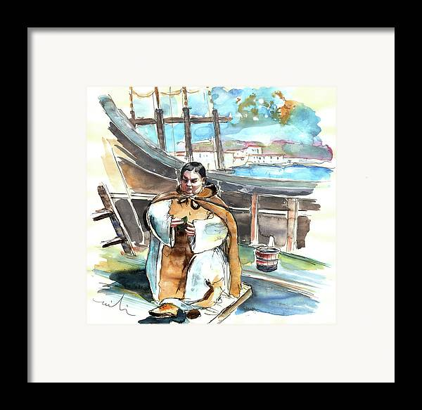 Portugal Framed Print featuring the painting Preaching The Bible On The Conquistadores Boat In Vila Do Conde In Portugal by Miki De Goodaboom