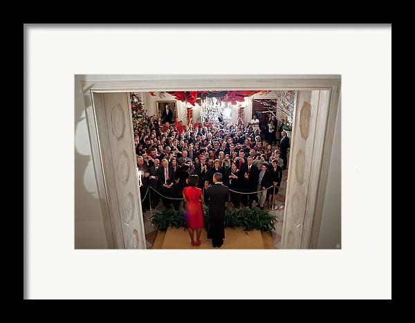 History Framed Print featuring the photograph President And Michelle Obama Address by Everett
