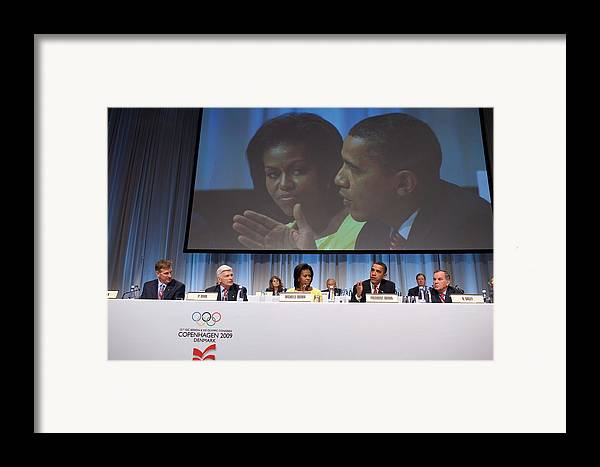 History Framed Print featuring the photograph President And Michelle Obama Answer by Everett