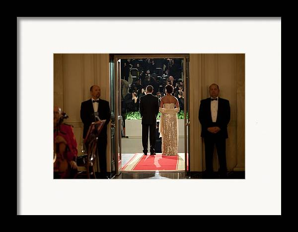 History Framed Print featuring the photograph President And Michelle Obama Face by Everett