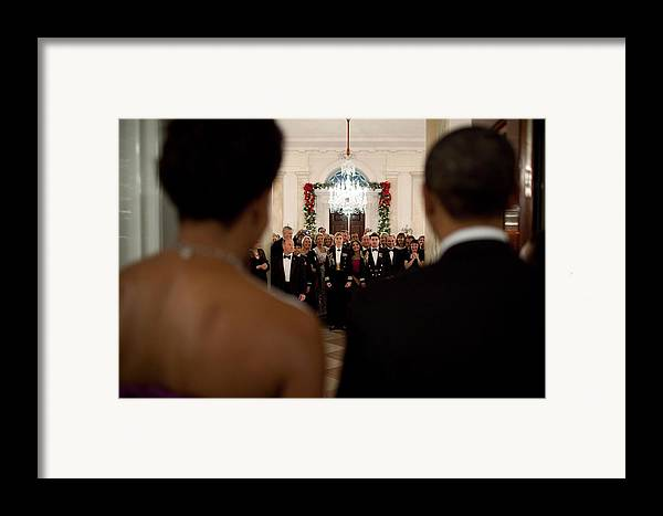 History Framed Print featuring the photograph President And Michelle Obama Face White by Everett