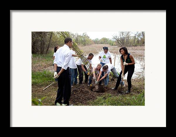 History Framed Print featuring the photograph President And Michelle Obama Help Plant by Everett