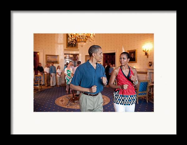 History Framed Print featuring the photograph President And Michelle Obama Pretend by Everett