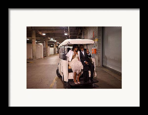History Framed Print featuring the photograph President And Michelle Obama Ride by Everett