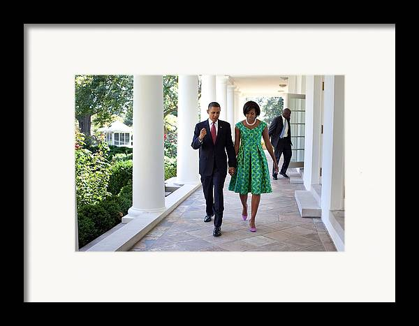 History Framed Print featuring the photograph President And Michelle Obama Walk by Everett