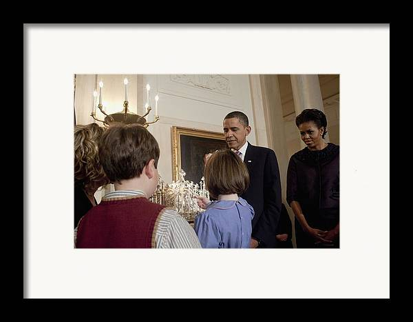 History Framed Print featuring the photograph President And Michelle Obama Watch by Everett