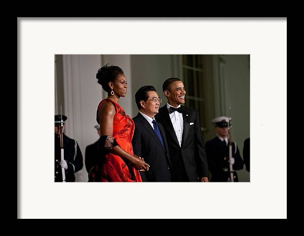 History Framed Print featuring the photograph President And Michelle Obama Welcome by Everett