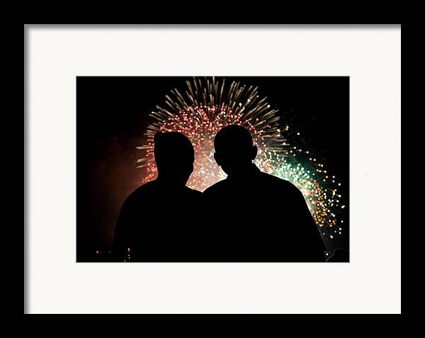 History Framed Print featuring the photograph President And Mrs. Obama Watching by Everett