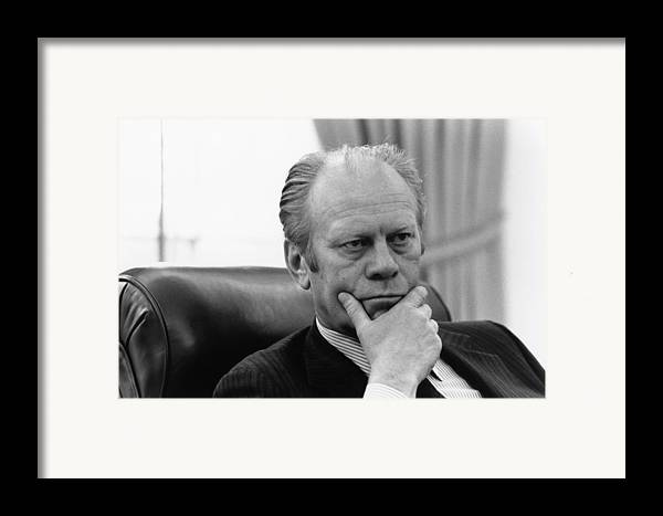 History Framed Print featuring the photograph President Gerald Ford Listening by Everett