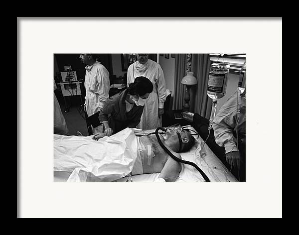 History Framed Print featuring the photograph President Johnson After Surgery. Lady by Everett