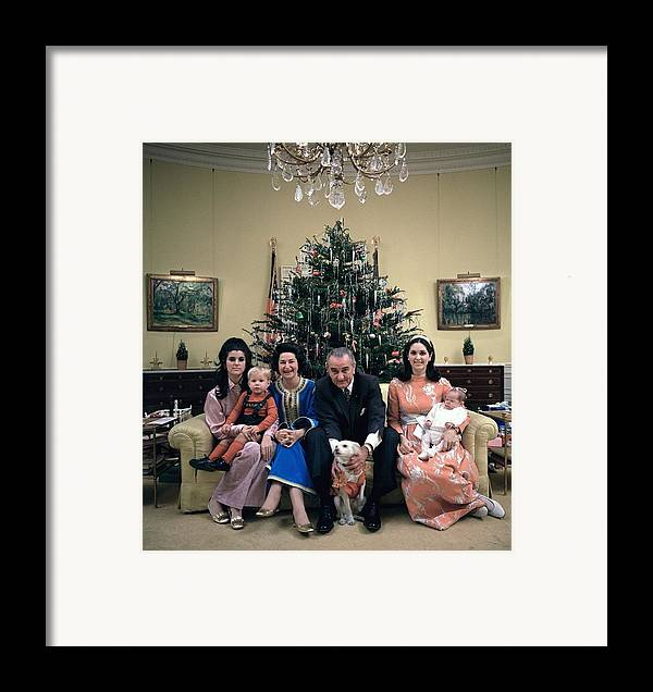 History Framed Print featuring the photograph President Johnsons Family Celebrating by Everett