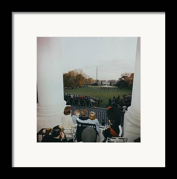 History Framed Print featuring the photograph President Kennedy And His Family Watch by Everett