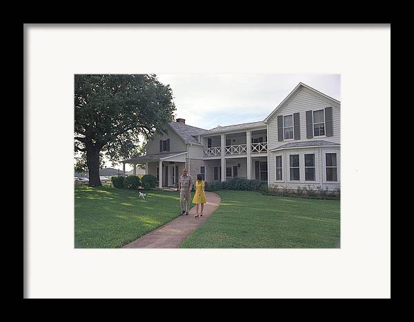 History Framed Print featuring the photograph President Lyndon Johnson, Lady Bird by Everett