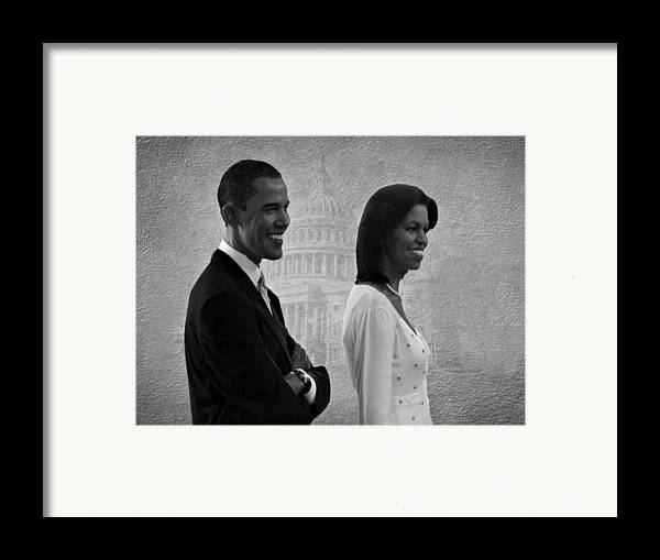 President Obama Framed Print featuring the photograph President Obama And First Lady Bw by David Dehner