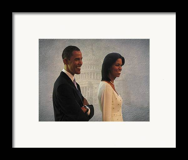 President Obama Framed Print featuring the photograph President Obama And First Lady by David Dehner