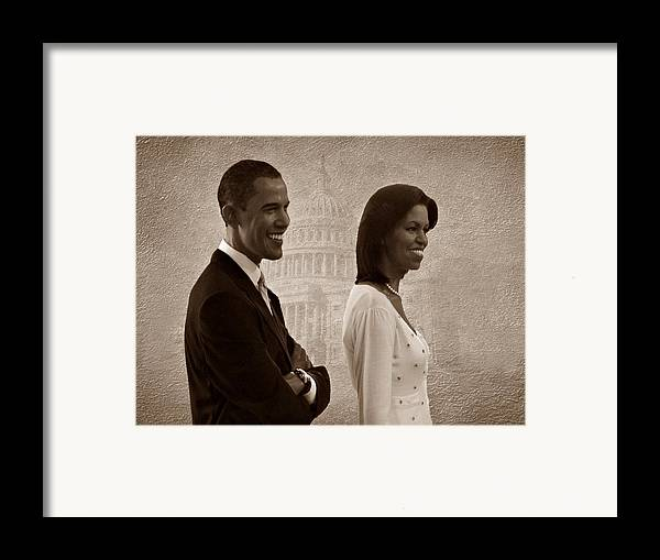 President Obama Framed Print featuring the photograph President Obama And First Lady S by David Dehner