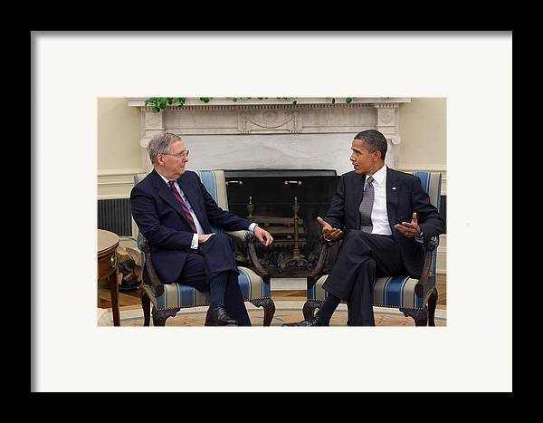 History Framed Print featuring the photograph President Obama Meets With Senate by Everett