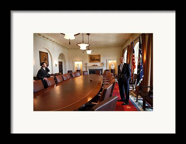 History Framed Print featuring the photograph President Obama Surveys The Cabinet by Everett