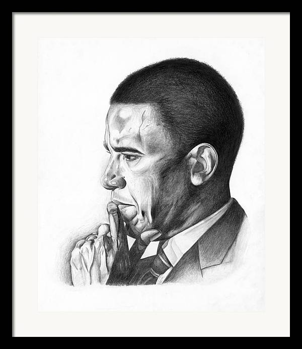 Barack Framed Print featuring the drawing Presidential Thoughts by Jeff Stroman