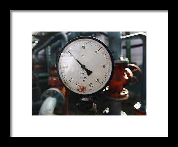 Measuring Instrument Framed Print featuring the photograph Pressure Dial, Natural Gas Industry by Ria Novosti
