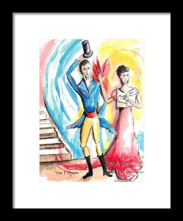 Jane Austen Framed Print featuring the painting Pride And Prejudice by Suzanne Ackerman