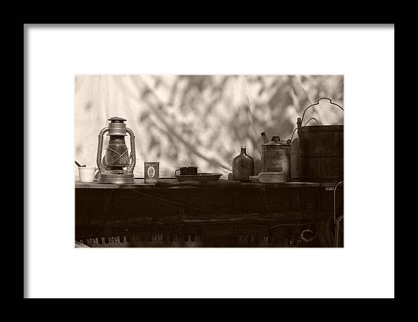 Cowboy Framed Print featuring the photograph Props to the cowboy by Toni Hopper