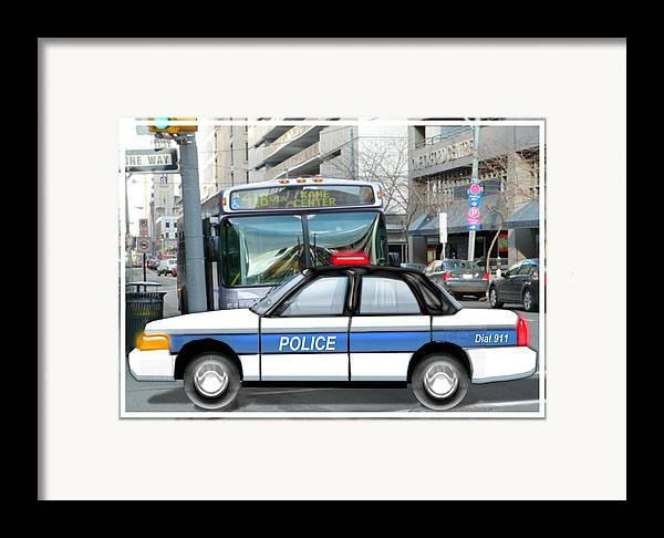 Police Framed Print featuring the painting Proud Police Car In The City by Elaine Plesser