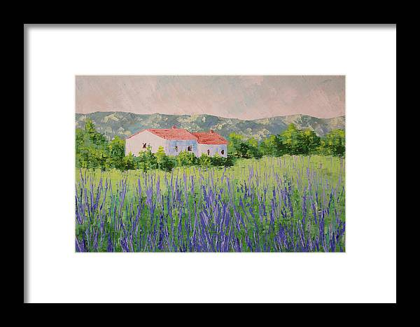 Landscape Framed Print featuring the painting Provence Lavender Volonne by Frederic Payet
