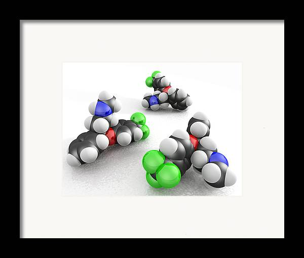 Fluoxetine Hydrochloride Framed Print featuring the photograph Prozac Molecules by Phantatomix