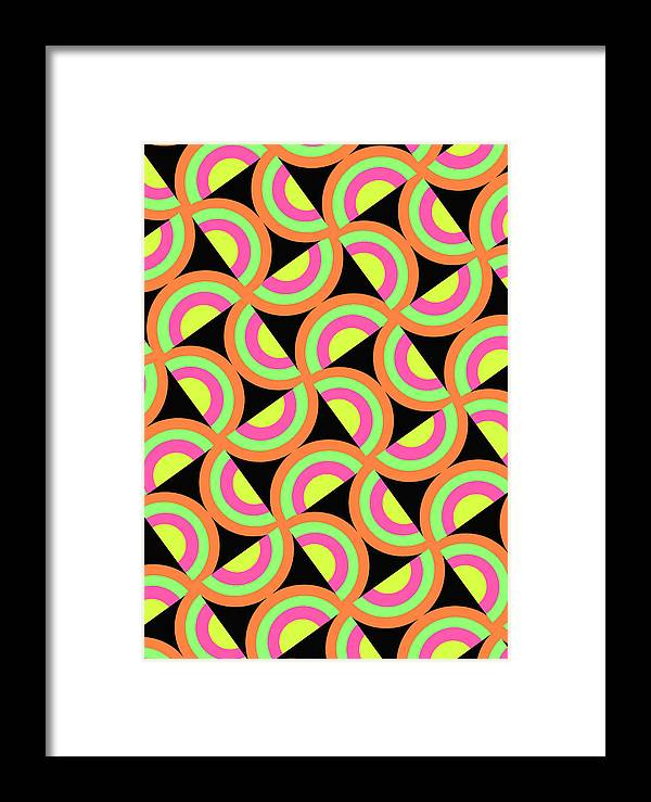 Psychedelic Squares (digital) By Louisa Knight (contemporary Artist) Framed Print featuring the digital art Psychedelic Squares by Louisa Knight