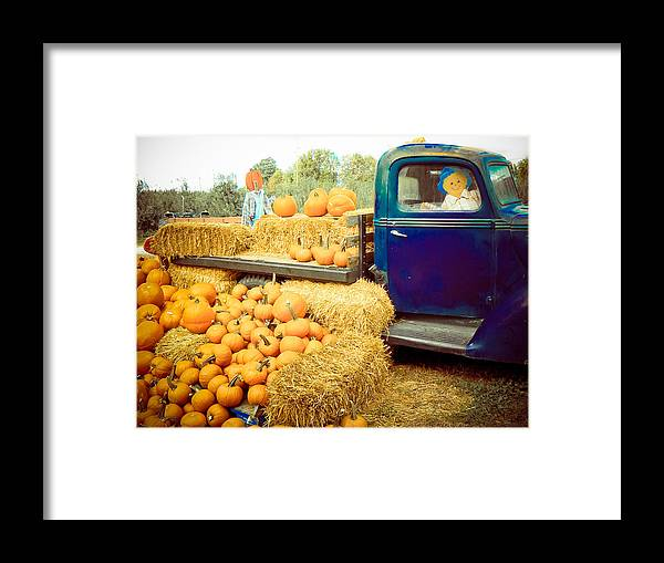 Photography Fall Pumpkins Harvest Sale Hay Truck Scarecrow Prints Posters Greeting Cards Season Framed Print featuring the mixed media Pumpkin Harvest by Connie Dye