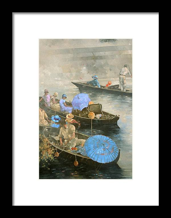 River; Boats; Boat; Boating; Leisure; Day Trip; Parasols; Punt; Punting; Umbrella Framed Print featuring the painting Punts On The Wey At Brooklands by Peter Miller