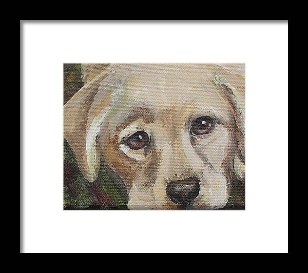 Leslie Framed Print featuring the painting Pup by Leslie Hoops-Wallace