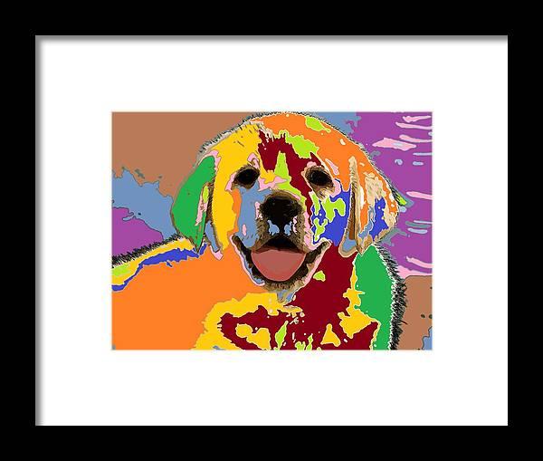 Puppy Framed Print featuring the digital art puppy Portrait 7 by Adrian Tovnodtov
