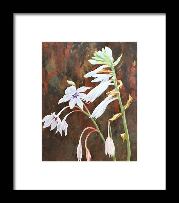 Flower Framed Print featuring the painting Pure White by Debi Davis
