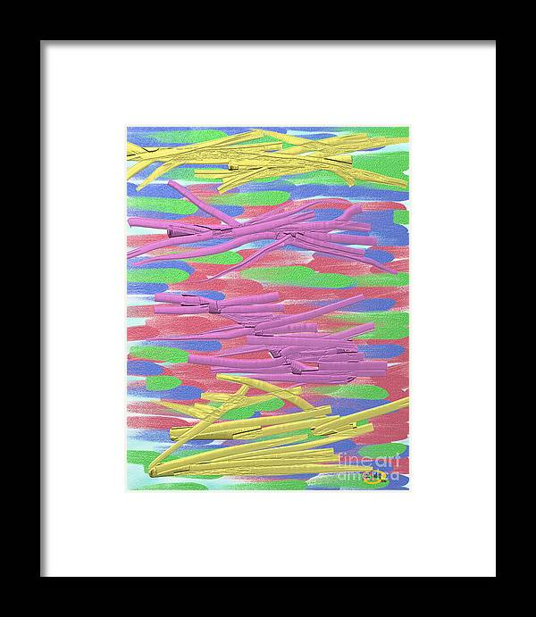 Digital Painting Framed Print featuring the digital art Purple And Yellow Ribbons by Rod Seeley