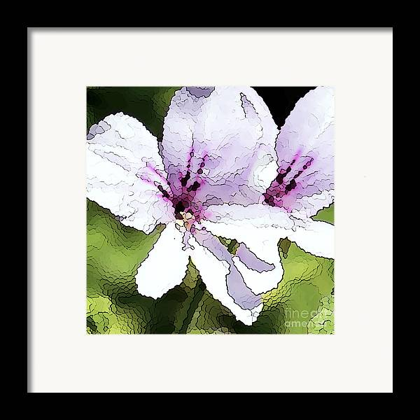 Geranium Framed Print featuring the painting Purple Geranium by Artist and Photographer Laura Wrede